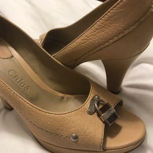 Chloe tan peep toe heels.